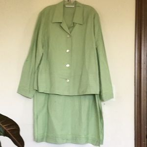 Linen Two Piece Lime Green Suit